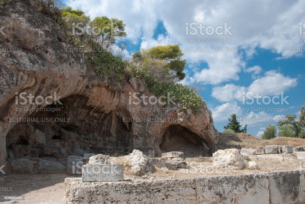 Sanctuary of Pluto (Hades), god of the Underworld, who abducted Persephone. stock photo