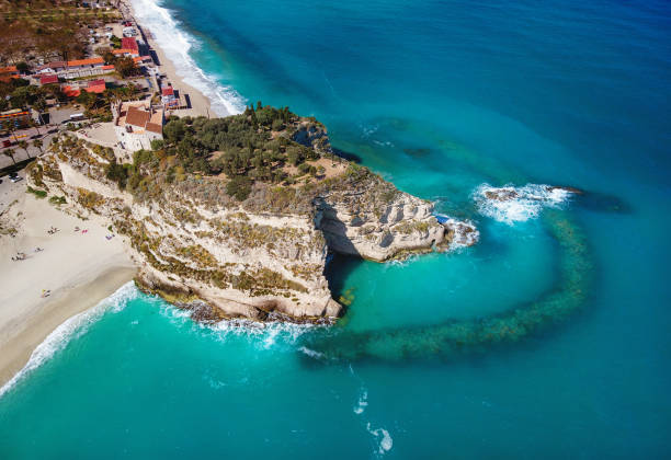 Sanctuary of Santa Maria Island aerial view - Tropea, Calabria, Italy stock photo