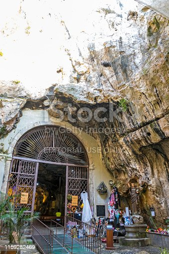 Palermo, Italy - May 11, 2018: Sanctuary of Santa Rosalia (Italian: Santuario di Santa Rosalia) in Palermo, Sicily, Italy. Located inside a ravine of rock, almost on the top of Mount Pellegrino