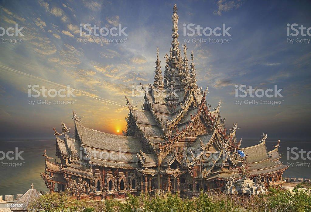 Sanctuary of Truth, Pattaya, Thailand. stock photo