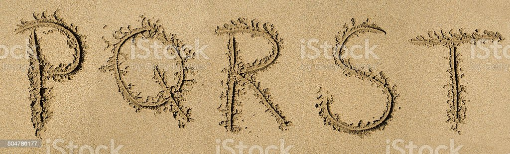 Sand Alphabet - P to T royalty-free stock photo