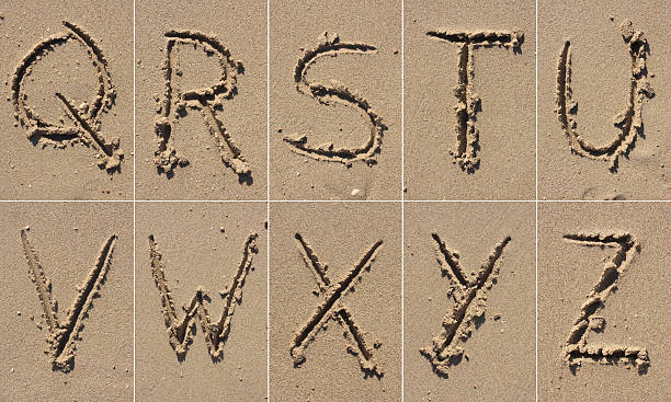 Sand Alphabet XXXL Q-R-S-T-U-V-W-X-Y-Z alphabet letters. letter w stock pictures, royalty-free photos & images