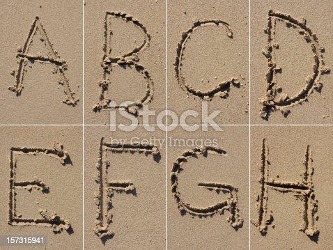 A-B-C-D-E-F-G-H alphabet letters.