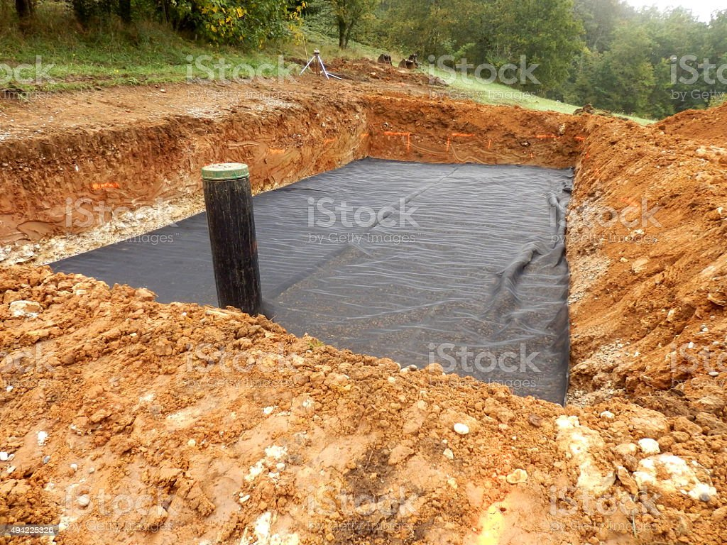 Sand and Gravel Filter Bed stock photo