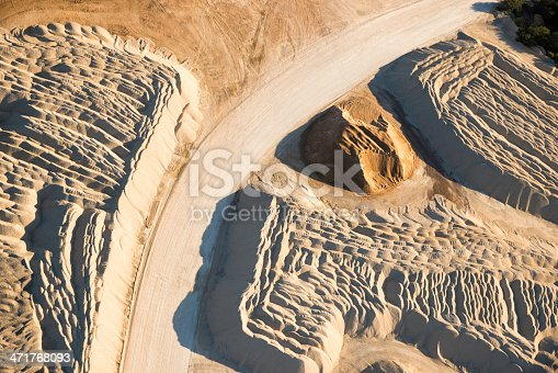 sand and gravel plant - abstract overhead aerial view. Near San Antonio Texas