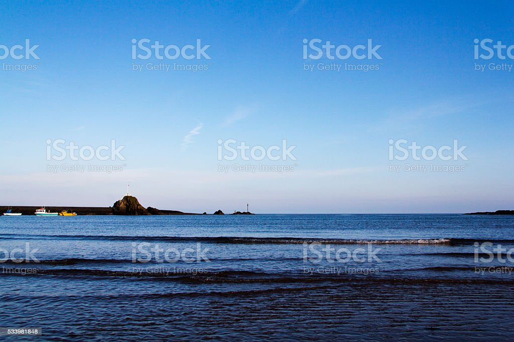 Sand and sea on the seafront at Bude, Cornwall stock photo