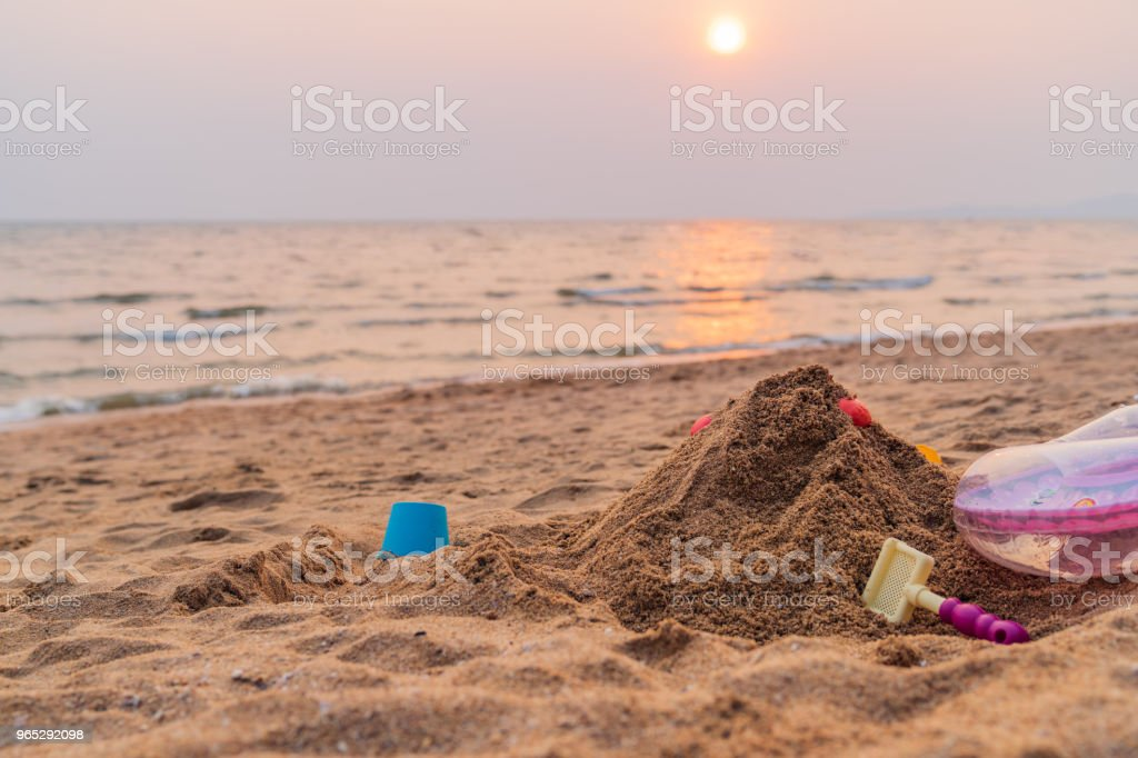 Sand and toys on the beach background. royalty-free stock photo