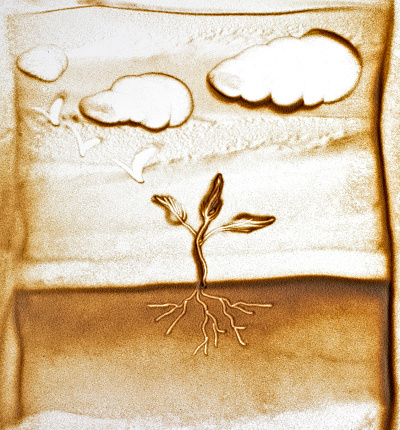 hand made sand art with sprouting tree and soil figure