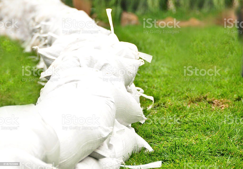 Sand Bags in a Line stock photo