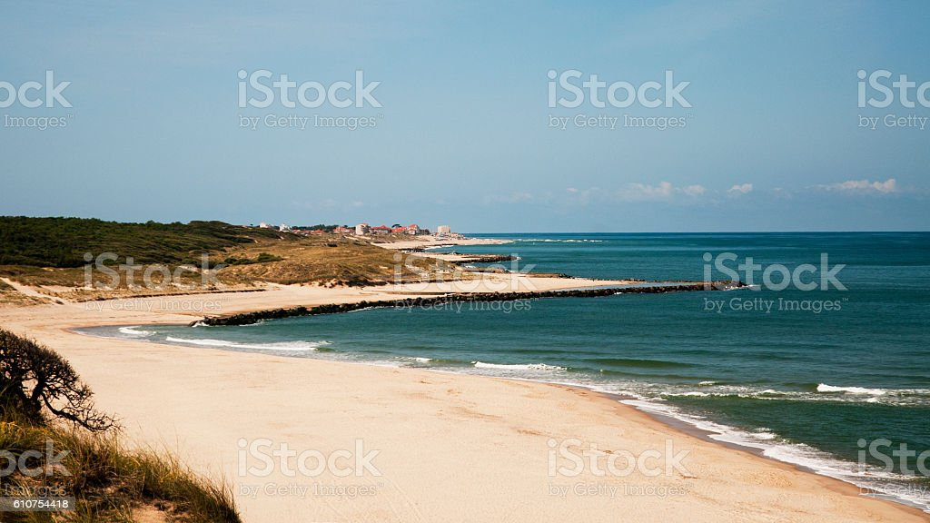 Sand beach and sea - France stock photo