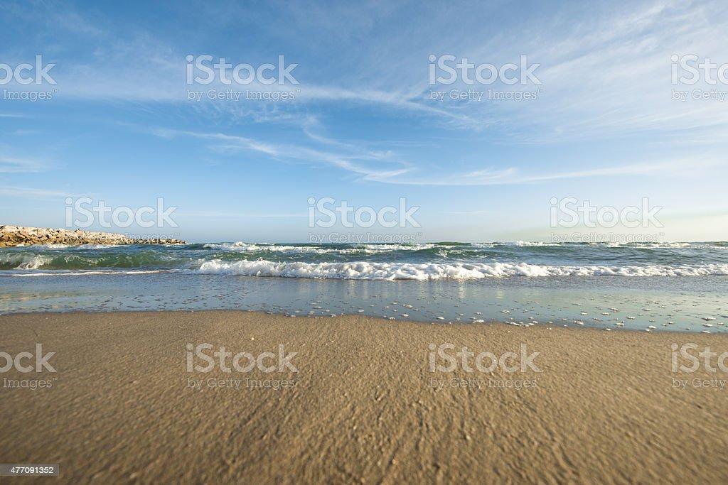 Sand beach blue sky stock photo