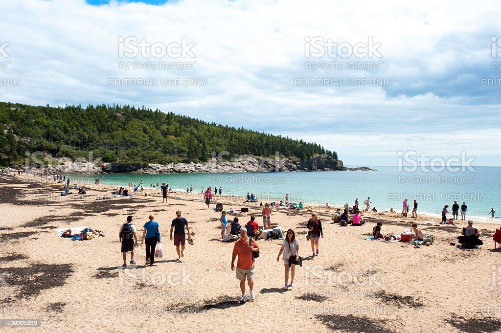 Sand Beach on Mount Desert Island, Acadia National Park stock photo