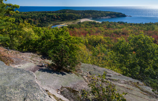 Sand Beach seen from the Beehive Trail, Acadia National Park stock photo