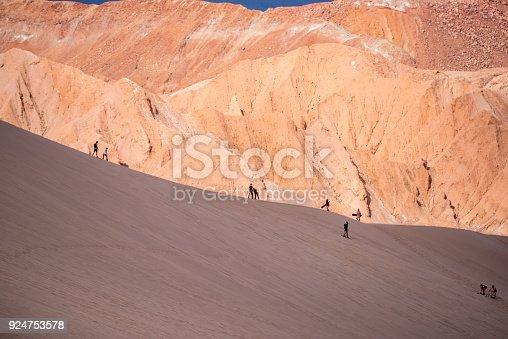 Sand boarding in Valle de Marte (Mars Valley ) - Atacama desert