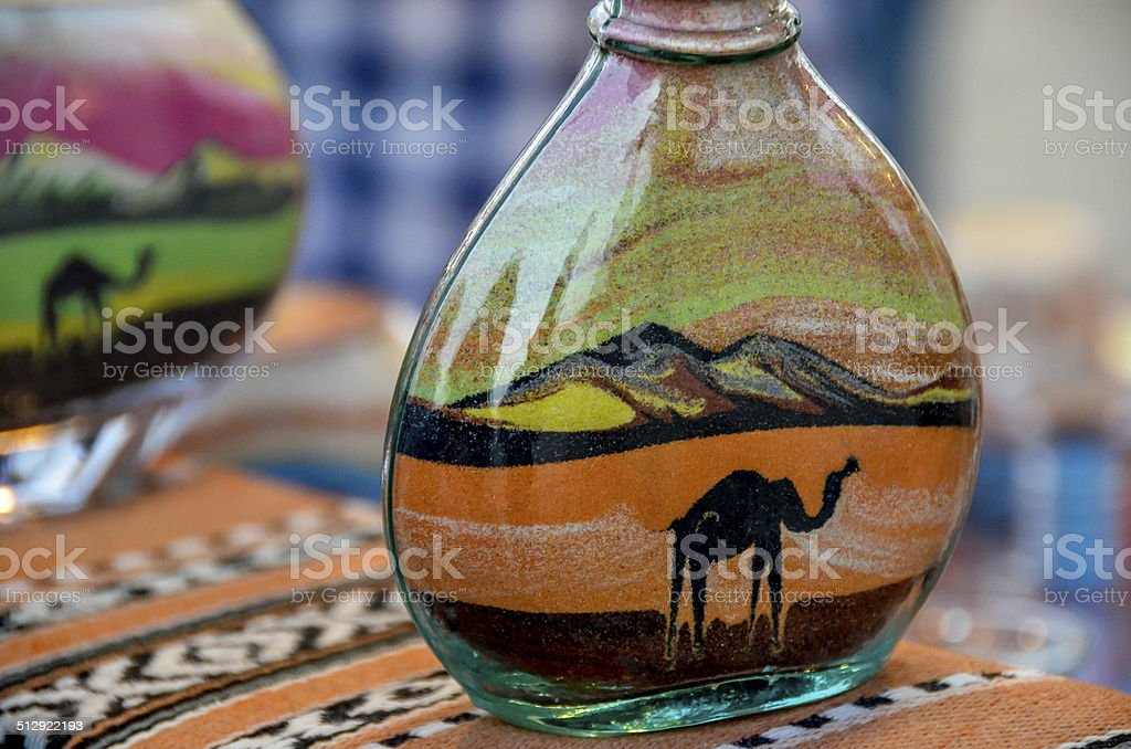 Sand Bottle Desert Safari Dubai stock photo