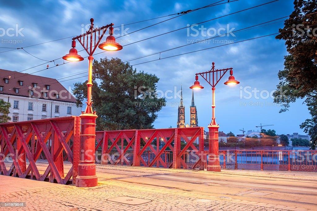 Sand Bridge on morning over Odra river, Wroclaw, Poland. stock photo