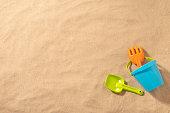 istock Sand bucket on the beach 1302956521