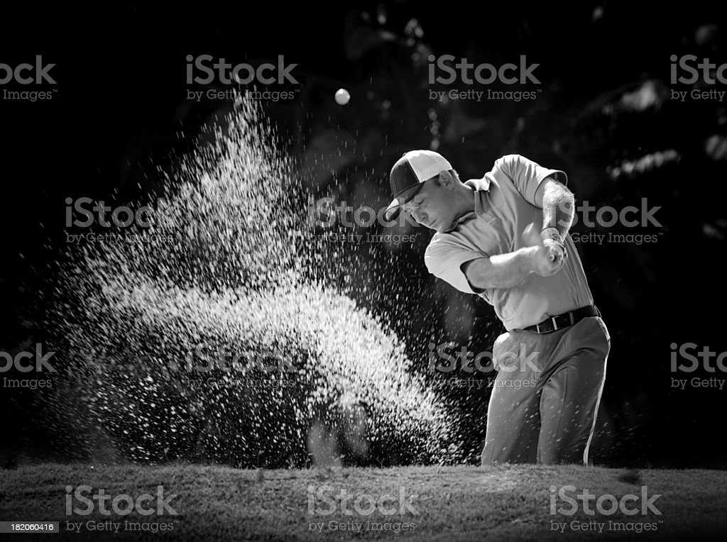 B&W Sand Bunker Shot stock photo