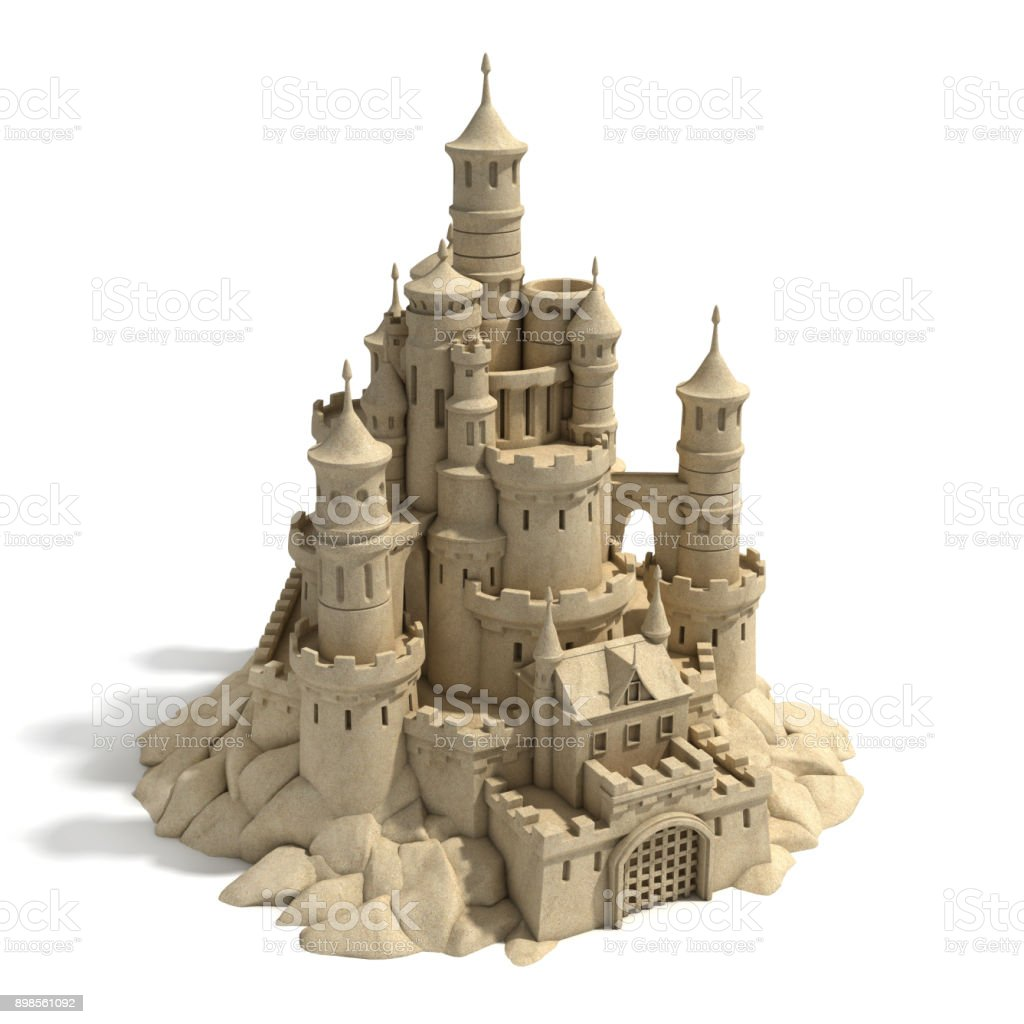 Sand castle  3d isolated illustration stock photo