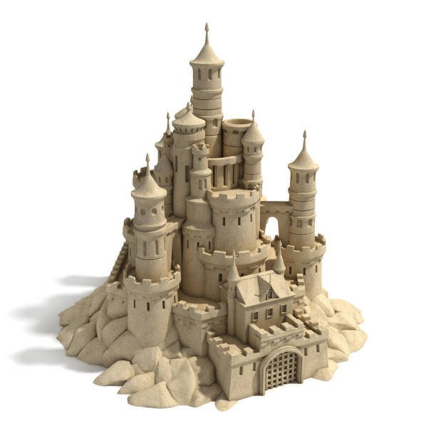 sand castle  3d isolated illustration - wave icon stock photos and pictures