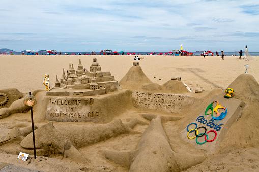 Sand castle in Copacabana Beach