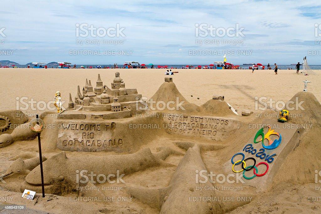 Sand castle in Copacabana Beach stock photo