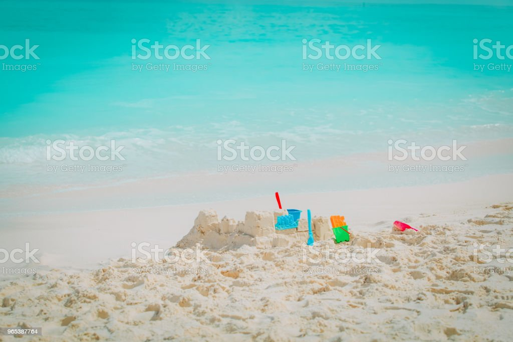 Sand castle on the beach royalty-free stock photo