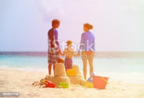 512726470 istock photo sand castle on tropical beach, family vacation 480801148