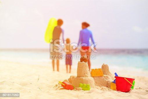 512726470 istock photo sand castle on tropical beach, family vacation 501817050