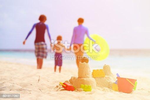512726470 istock photo sand castle on tropical beach, family vacation 501817092