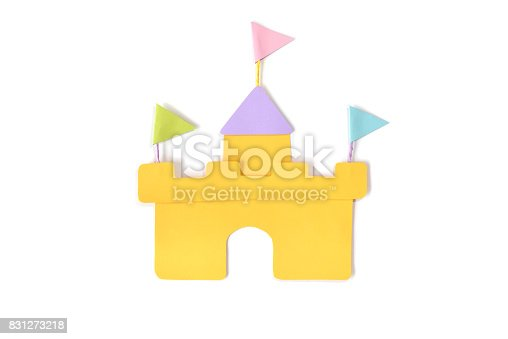Sand castle paper cut on white background - isolated