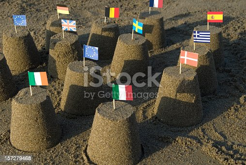 istock Sand castles with tooth pick flags of the European Union 157279468