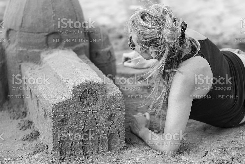 Sand church competition royalty-free stock photo