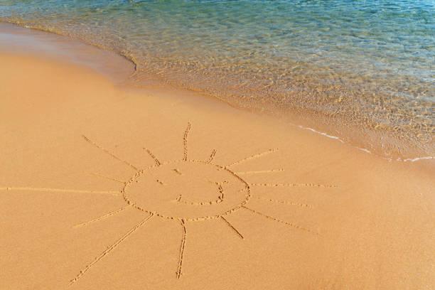 Sandzeichnersonne am Strand, oben – Foto