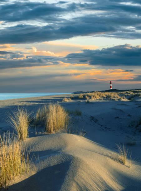 sanddüne und leuchtturm auf der insel sylt bei sonnenuntergang mit majestätische wolkengebilde - sylt urlaub stock-fotos und bilder