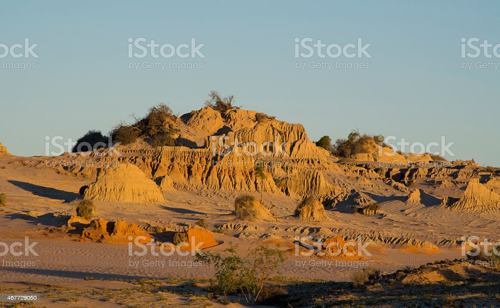 Sand dune at the sunset stock photo