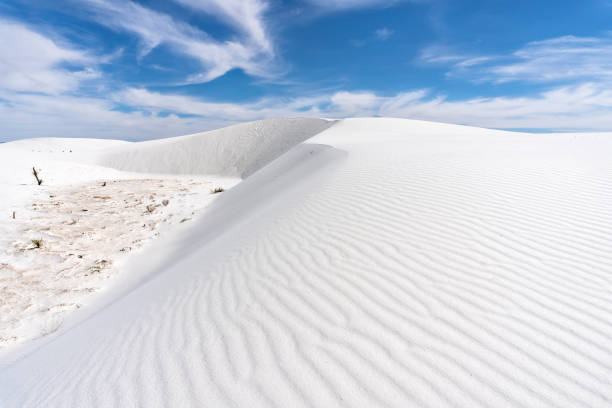 Sand dune at White Sands National Monument stock photo