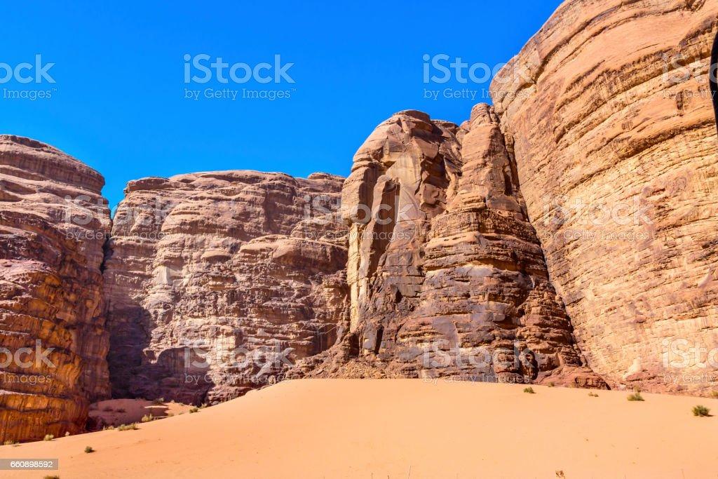 Sand Dune Barrah Siq Valley of Moon Wadi Rum Jordan stock photo