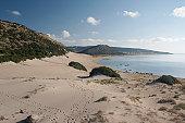 Sand dunes at Golden Beach, North Cyprus, Karpazi peninsula.