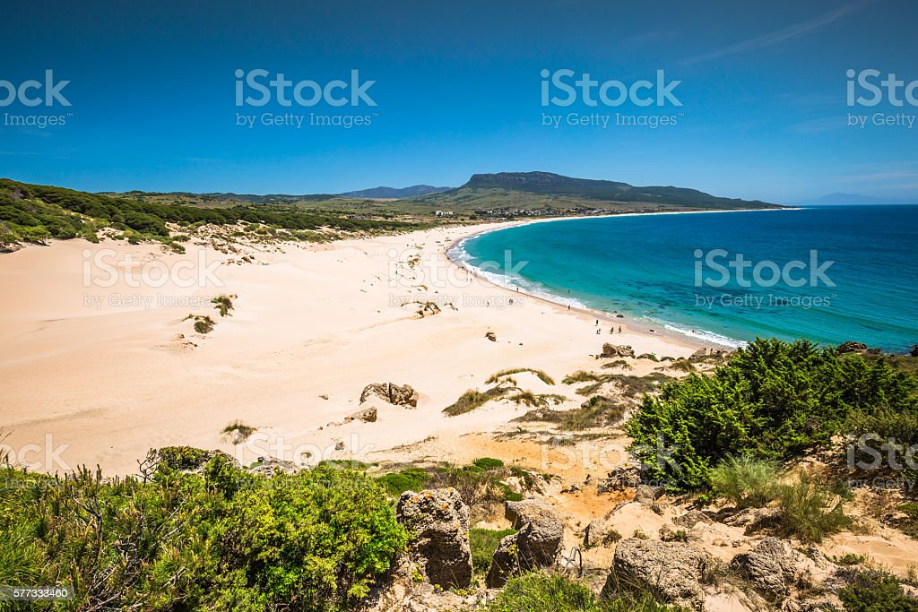 Sand dune of Bolonia beach, province Cadiz, Andalucia, Spain stock photo