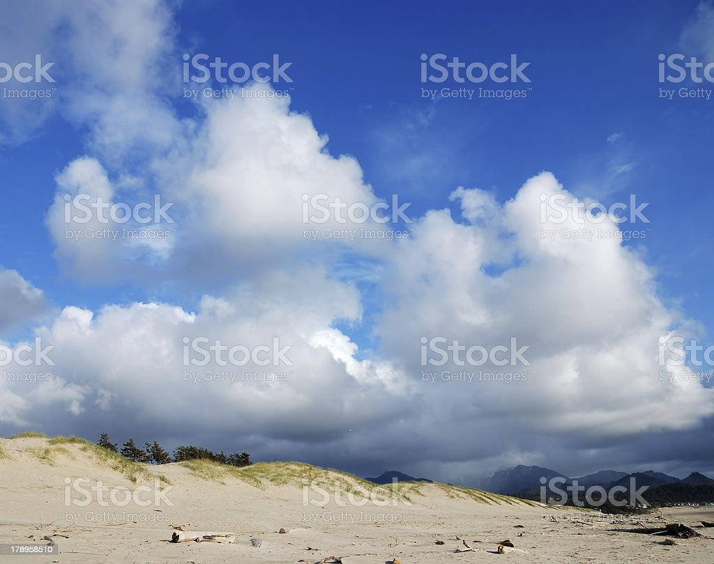 Sand Dunes and Clouds stock photo