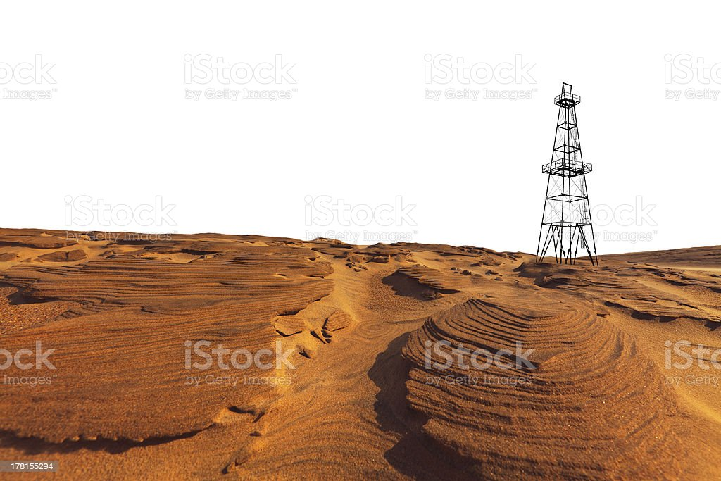 Sand dunes and isolated oil rig stock photo