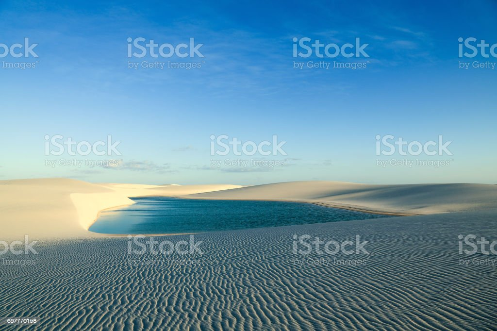 Sand dunes and lagoon in north of Brazil stock photo