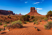 Sand dunes and rocks in Monument Valley, Arizona