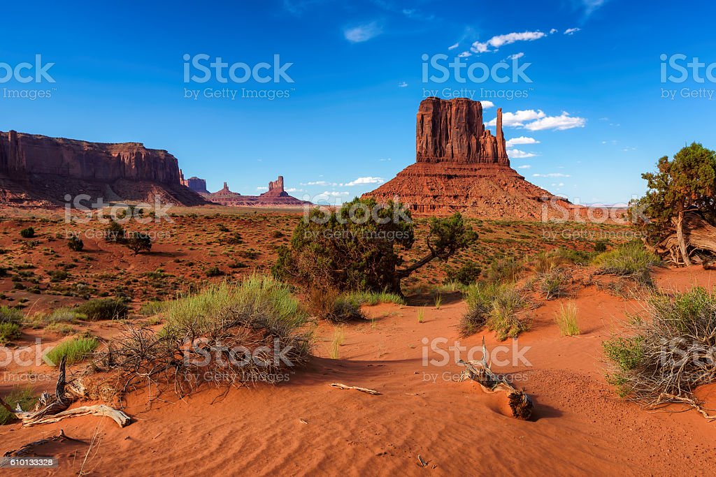 Sand dunes and rocks in Monument Valley, Arizona stock photo