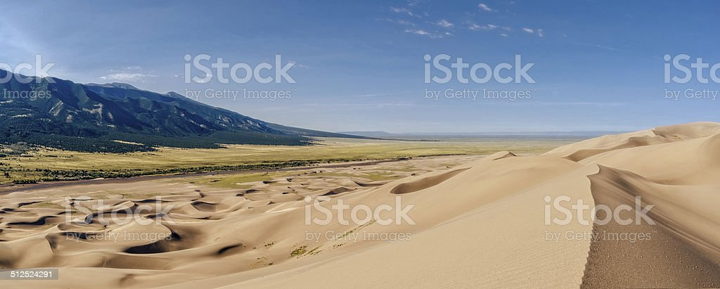 Sand Dunes and San Luis Valley stock photo
