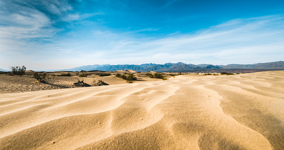 Beautiful Mesquite Flat Dunes at Death Valley National Park in California USA.