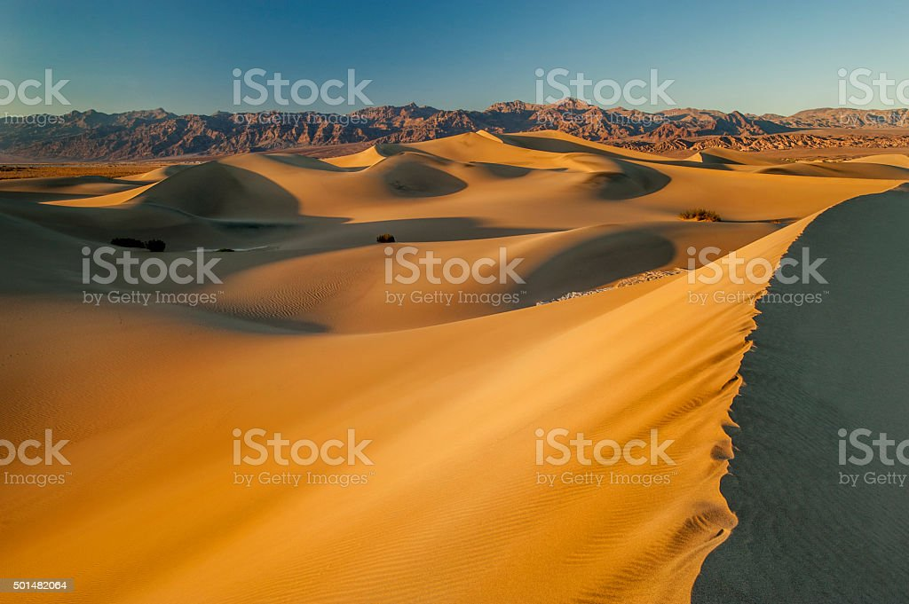 Sand Dunes at Sunrise, Death Valley National Park, California stock photo