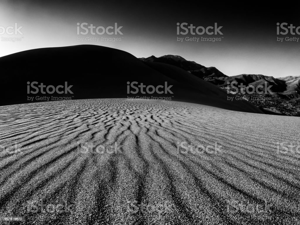 Sand Dunes at Sunset in Black and White stock photo