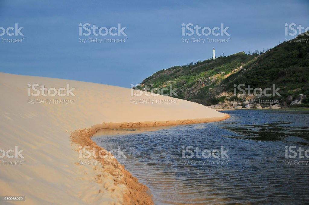 Sand dunes beside Dai Lanh lighthouse near Nha Trang beach, Vietnam royalty-free stock photo